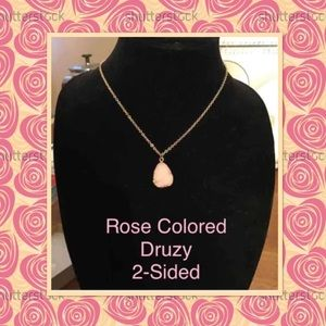 2 Sided Rose Colored Druzy Necklace